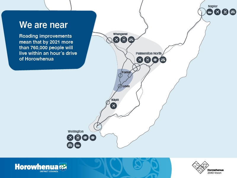 Map showing nearby towns and cities for the Horowhenua District.