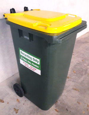 Image of a 240 Litre recycling wheelie bin for upcoming recycling changes.