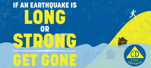 Civil Defence Earthquake Long or Strong Get Gone banner.